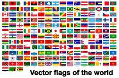 οι σημαίες του κόσμου απομονώνουν στο άσπρο υπόβαθρο, διανυσματική απεικόνιση EPS 10 απεικόνιση αποθεμάτων