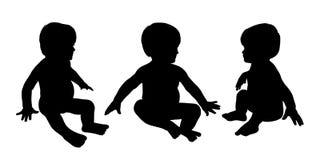 Οι σκιαγραφίες λίγης συνεδρίασης μωρών θέτουν 4 Στοκ Εικόνα