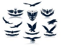 Οι σκιαγραφίες αετών θέτουν 3 Στοκ φωτογραφία με δικαίωμα ελεύθερης χρήσης