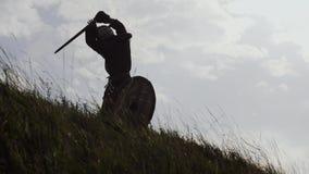Οι σκιαγραφίες δύο πολεμιστών Βίκινγκ παλεύουν με τα ξίφη και τις ασπίδες απόθεμα βίντεο