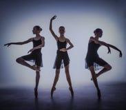 Οι σκιαγραφίες των νέων χορευτών μπαλέτου που θέτουν επάνω Στοκ Εικόνα