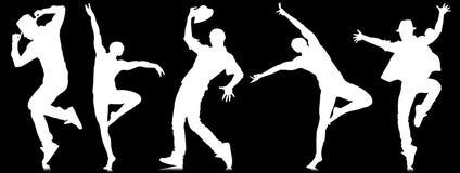 Οι σκιαγραφίες των χορευτών στην έννοια χορού Στοκ εικόνες με δικαίωμα ελεύθερης χρήσης