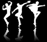 Οι σκιαγραφίες των χορευτών στην έννοια χορού Στοκ φωτογραφίες με δικαίωμα ελεύθερης χρήσης