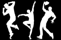 Οι σκιαγραφίες των χορευτών στην έννοια χορού Στοκ Φωτογραφίες