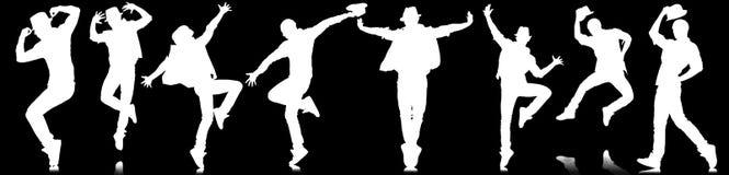 Οι σκιαγραφίες των χορευτών στην έννοια χορού Στοκ εικόνα με δικαίωμα ελεύθερης χρήσης