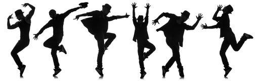 Οι σκιαγραφίες των χορευτών στην έννοια χορού Στοκ Φωτογραφία