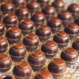 Οι σκοτεινές καραμέλες σοκολάτας τακτοποιούνται στις σειρές στις ειδικές μορφές Μαγειρεύοντας χειροποίητες σοκολάτες r στοκ φωτογραφίες με δικαίωμα ελεύθερης χρήσης