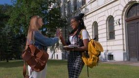 Οι σπουδαστές κοριτσιών λένε αντίο κοντά στο σχολείο Έννοια φιλίας των σπουδαστών φιλμ μικρού μήκους