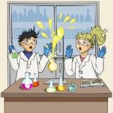 Οι σπουδαστές πραγματοποιούν ένα χημικό πείραμα Το πείραμα αποτυχημένο διανυσματική απεικόνιση