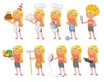 Οι στάσεις κοριτσάκι στο ίδιο πράγμα θέτουν και κρατούν τα διάφορα αντικείμενα Στοκ φωτογραφία με δικαίωμα ελεύθερης χρήσης