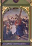 οι 6οι σταθμοί του σταυρού, Βερόνικα σκουπίζουν το πρόσωπο του Ιησού Στοκ φωτογραφία με δικαίωμα ελεύθερης χρήσης