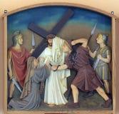 οι 6οι σταθμοί του σταυρού, Βερόνικα σκουπίζουν το πρόσωπο του Ιησού Στοκ Εικόνα
