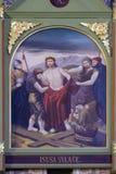 οι 10οι σταθμοί του σταυρού, Ιησούς είναι γδυμένοι των ενδυμάτων του Στοκ Εικόνες