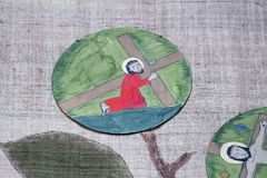 οι 3$οι σταθμοί του σταυρού, Ιησούς πέφτουν την πρώτη φορά Στοκ εικόνα με δικαίωμα ελεύθερης χρήσης