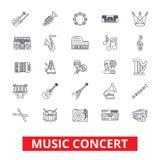 Οι συναυλίες μουσικής, κιθάρα, πιάνο, κόμμα του DJ, τύμπανα, όργανα, σημειώσεις, ζώνη παρουσιάζουν εικονίδια γραμμών Κτυπήματα Ed ελεύθερη απεικόνιση δικαιώματος