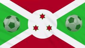 Οι σφαίρες κυματισμού και ποδοσφαίρου σημαιών του Μπουρούντι περιστρέφονται, βρόχος απεικόνιση αποθεμάτων