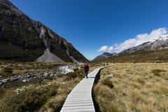 Οι ταξιδιώτες που στη διάσημη Hooker διαδρομή κοιλάδων στη Νέα Ζηλανδία ` s τοποθετούν το εθνικό πάρκο Cook Aoraki Στοκ φωτογραφίες με δικαίωμα ελεύθερης χρήσης