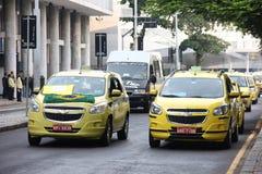 Οι ταξιτζήδες διαμαρτύρονται ενάντια σε Uber στη Βραζιλία Στοκ Φωτογραφίες