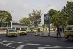 Οι ταξιτζήδες διαμαρτύρονται ενάντια σε Uber στη Βραζιλία Στοκ Εικόνες