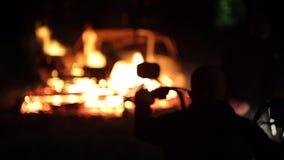 Οι ταραχές στην πόλη, πυρκαγιά απόθεμα βίντεο