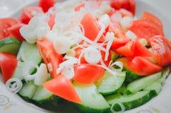 Οι τεμαχισμένα ντομάτες, τα αγγούρια και τα κρεμμύδια είναι στα δαχτυλίδια σε ένα πιάτο Κινηματογράφηση σε πρώτο πλάνο, τοπ άποψη στοκ φωτογραφίες