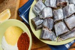 Οι τεμαχισμένοι ακατέργαστοι μπακαλιάροι αλιεύουν με την πάπρικα αλευριού και το αλεύρι καλαμποκιού έτοιμες για το τηγάνισμα Στοκ φωτογραφίες με δικαίωμα ελεύθερης χρήσης