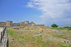 Οι τεράστιοι τοίχοι πετρών του αρχαίου φρουρίου Akkerman, belgorod-Dniester, περιο στοκ εικόνες με δικαίωμα ελεύθερης χρήσης