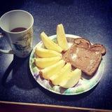 οι τηγανίτες πρωινού γεύματος μαρμελάδας κρέμας ξινίζουν Στοκ Εικόνες