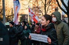 Οι της Λευκορωσίας λαοί συμμετέχουν στη διαμαρτυρία ενάντια στο διάταγμα 3 στο Μινσκ Στοκ φωτογραφία με δικαίωμα ελεύθερης χρήσης