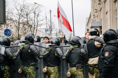 Οι της Λευκορωσίας λαοί συμμετέχουν στη διαμαρτυρία ενάντια στο διάταγμα 3 στο Μινσκ Στοκ Εικόνα