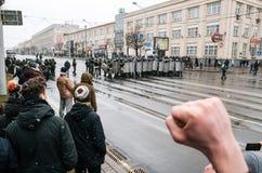 Οι της Λευκορωσίας λαοί συμμετέχουν στη διαμαρτυρία ενάντια στο διάταγμα 3 στο Μινσκ Στοκ Φωτογραφία