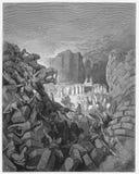 Οι τοίχοι της πτώσης του Jericho κάτω ελεύθερη απεικόνιση δικαιώματος