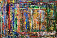 Οι τολμηρά, αφηρημένα γραμμές και τα σημεία του χρώματος στον τοίχο Στοκ εικόνες με δικαίωμα ελεύθερης χρήσης