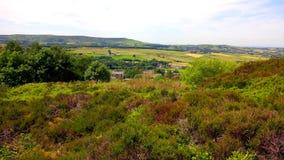 Οι τομείς στη δυτική Πένινα δένουν κοντά σε Darwen στοκ φωτογραφία