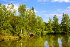 Οι τουρίστες περπατούν στο πάρκο στην μουσείο-επιφύλαξη Abramtsevo Στοκ εικόνες με δικαίωμα ελεύθερης χρήσης