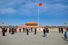 Οι τουρίστες στο πλατεία Tiananmen Στοκ Εικόνα