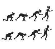 Οι τρέχοντας θέσεις βημάτων ανθρώπων σκιαγραφούν το Μαύρο διάνυσμα Στοκ Φωτογραφία