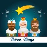 Οι τρεις μαγικοί βασιλιάδες των κινούμενων σχεδίων Ανατολής Στοκ φωτογραφία με δικαίωμα ελεύθερης χρήσης