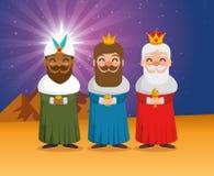 Οι τρεις μαγικοί βασιλιάδες των κινούμενων σχεδίων Ανατολής Στοκ φωτογραφίες με δικαίωμα ελεύθερης χρήσης