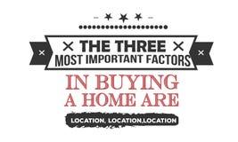 Οι τρεις περισσότεροι σοβαροί παράγοντες στην αγορά ενός σπιτιού είναι θέση, θέση, θέση απεικόνιση αποθεμάτων