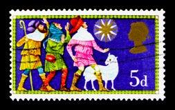 Οι τρεις ποιμένες, Χριστούγεννα 1969 - παραδοσιακά θρησκευτικά θέματα serie, circa 1969 Στοκ φωτογραφία με δικαίωμα ελεύθερης χρήσης