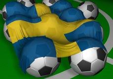 οι τρισδιάστατες σφαίρες σημαιοστολίζουν την απόδοση του ποδοσφαίρου Σουηδία Στοκ Εικόνες