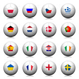οι τρισδιάστατες σφαίρες σημαιοστολίζουν το ποδόσφαιρο προτύπων Στοκ Φωτογραφία