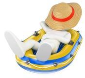 οι τρισδιάστατοι άνθρωποι εξετάζουν το λευκό Άτομο κοιμισμένο σε μια διογκώσιμη βάρκα Στοκ Φωτογραφία