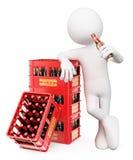 οι τρισδιάστατοι άνθρωποι εξετάζουν το λευκό Άτομο που πίνει ένα μπουκάλι της μπύρας Στοκ φωτογραφίες με δικαίωμα ελεύθερης χρήσης