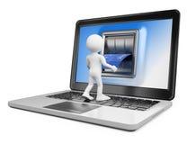 οι τρισδιάστατοι άνθρωποι εξετάζουν το λευκό Αγοράστε on-line Έννοια ηλεκτρονικού εμπορίου Στοκ Εικόνες