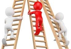 οι τρισδιάστατοι άνθρωποι εξετάζουν το λευκό Επιχειρηματίες που αναρριχούνται σε μια ξύλινη σκάλα Στοκ φωτογραφίες με δικαίωμα ελεύθερης χρήσης