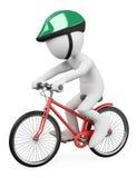 οι τρισδιάστατοι άνθρωποι εξετάζουν το λευκό Οδηγώντας ποδήλατο ατόμων Στοκ Φωτογραφία