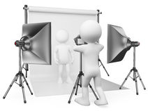 οι τρισδιάστατοι άνθρωποι εξετάζουν το λευκό Στούντιο φωτογράφων διανυσματική απεικόνιση