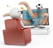 οι τρισδιάστατοι άνθρωποι εξετάζουν το λευκό τρισδιάστατη τηλεόραση Στοκ εικόνα με δικαίωμα ελεύθερης χρήσης